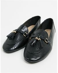 London Rebel Wide Fit Tassel Loafers - Black