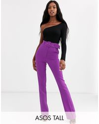 ASOS Asos Design Tall Pop Purple Slim Kick Flare Trousers With Covered Belt