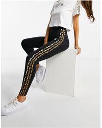 """adidas Originals Леггинсы Черного Цвета С Тремя Полосками С Леопардовым Принтом """"leopard Luxe""""-черный Цвет"""