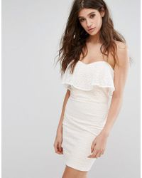 Miss Selfridge - Lace Bandeau Mini Dress - Lyst