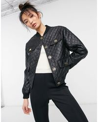 River Island - Quilted Faux Leather Bomber Jacket - Lyst