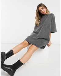 ASOS Серое Платье-футболка Из Плотного Трикотажа С Эффектом Кислотной Стирки В Стиле Oversized - Серый