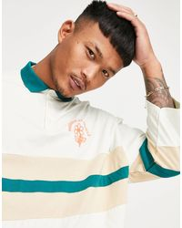 ASOS Oversized Cut & Sew Polo Shirt With Flower Embroidery - Multicolor