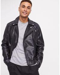 Calvin Klein Кожаная Куртка -черный