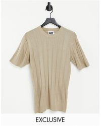 Reclaimed (vintage) Inspired Fitted Knit Short Sleeve Top - White