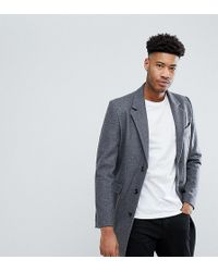ASOS - Tall Wool Mix Overcoat In Light Grey - Lyst