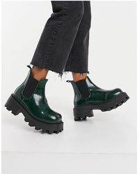 TOPSHOP Square Toe Chunky Chelsea Boots - Green