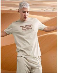 ASOS Lounge Pyjamaset Met T-shirt En Short Met Tekstprint - Naturel