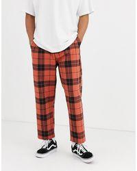 Obey Pantalones de cuadros con pliegues en rojo Fubar