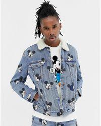 Levi's - Giacca di jeans con stampa di Topolino e pile borg lavaggio chiaro - Lyst