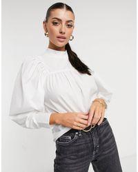 ASOS High Neck Cotton Top With Volume Sleeve - White