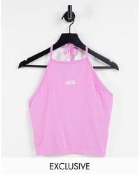 Vans Top con cuello halter y logo exclusivo en asos - Rosa