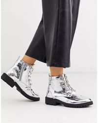 Vero Moda Silver Hiking Boots - Metallic