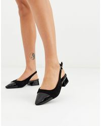 Boohoo Pointed Flats With Contrast Toe - Black
