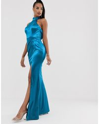 Bariano Halter Neck Liquid Draped Gown In Teal - Blue