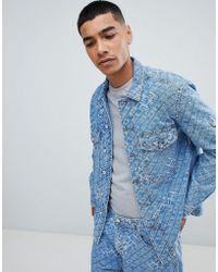 DIESEL D-late All Over Logo Oversized Denim Jacket - Blue