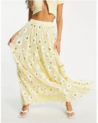 LACE & BEADS Exclusive Tiered Tulle Maxi Skirt - Yellow