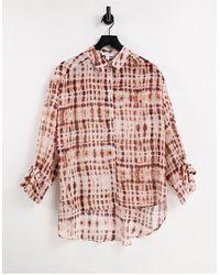 TOPSHOP Sheer Tie Dye Print Oversized Shirt - Red