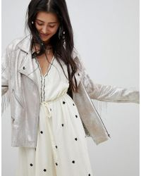 Native Rose - Festival Relaxed Biker Jacket In Premium Metallic Faux Leather With Tassels - Lyst