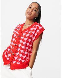 Naanaa Chaleco abotonado con estampado - Rojo