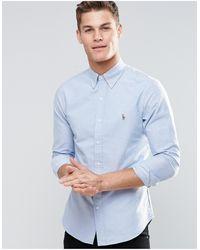 Polo Ralph Lauren Узкая Оксфордская Рубашка Синего Цвета -голубой - Синий