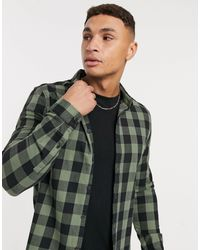 ASOS Stretch Slim Buffalo Check Shirt - Green