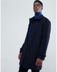 Esprit Wool Trench Coat In Navy - Blue