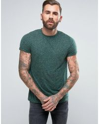 ASOS - T-shirt With Roll Sleeve In Textured Fabric - Lyst