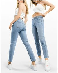 ASOS Jeans skinny a vita medio alta lavaggio medio vintage - Blu