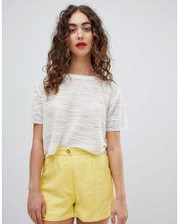 Mango - Fine Knit Top In Cream - Lyst