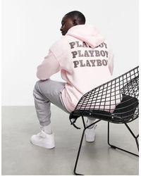 Mennace X Playboy Co-ord Oversized Zip Thru Hoodie - Pink