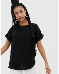 New Look Tee With Roll Sleeves - Black