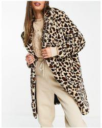 NA-KD Cappotto con stampa leopardata - Nero