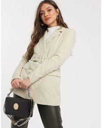 Y.A.S Belted Blazer-beige - Natural