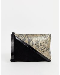 ASOS Suede Panelled Clutch Bag With Snake Detail - Multicolour