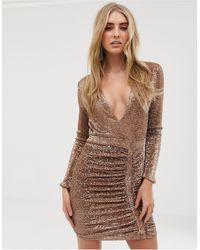 Lavish Alice Vestitino decorato con paillettes oro - Metallizzato