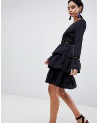 Liquorish - Tiered Skirt Skater Dress - Lyst