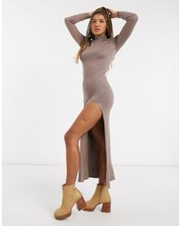 Girl In Mind Knit High Neck Maxi Dress With Thigh Slit In Mocha - Brown
