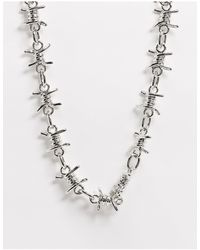 ASOS Short Chunky 17mm Neckchain With Barbed Wire Design - Metallic