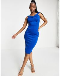 Lipsy Bardot Scuba Dress - Blue