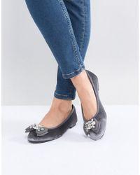 Dune - Head Over Heels Happi Grey Embellished Velvet Ballet Shoes - Lyst