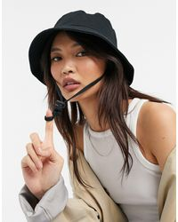 ASOS Canvas Bucket Hat Met Trekkoordje - Zwart