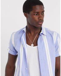 River Island Short Sleeve Shirt With Stripe - Blue