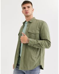 Pull&Bear Рубашка Хаки С Карманами -зеленый Цвет