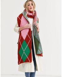 ASOS Knitted Argyle Long Scarf - Red