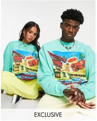 Reclaimed (vintage) Inspired Unisex Relaxed Sweatshirt With Tulum Print - Blue