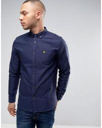 Lyle & Scott - Oxford Shirt Buttondown Regular Fit Eagle Logo In Navy - Lyst