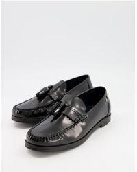 Ben Sherman Smart Leather Tassel Penny Loafers - Black