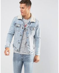 Hollister - Unlined Sherpa Trucker In Light Wash - Lyst