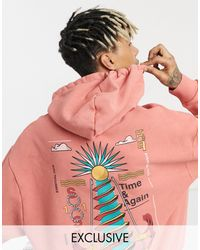 Collusion Oversized Hoodie With Print - Orange
